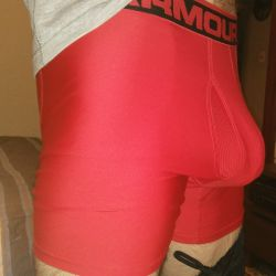 Red mesh Under Armour boxer briefs